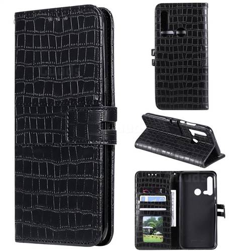 Luxury Crocodile Magnetic Leather Wallet Phone Case for Huawei P20 Lite(2019) - Black