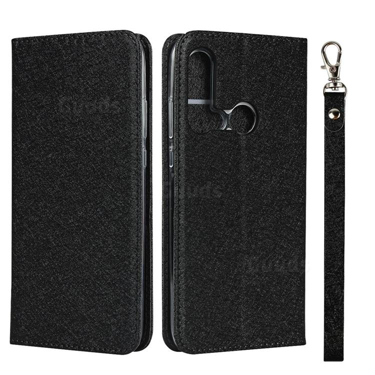 Ultra Slim Magnetic Automatic Suction Silk Lanyard Leather Flip Cover for Huawei P20 Lite(2019) - Black