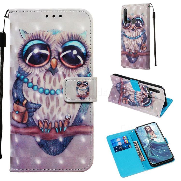 Sweet Gray Owl 3D Painted Leather Wallet Case for Huawei P20 Lite(2019)