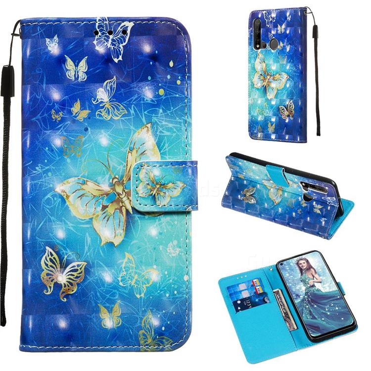 Gold Butterfly 3D Painted Leather Wallet Case for Huawei P20 Lite(2019)