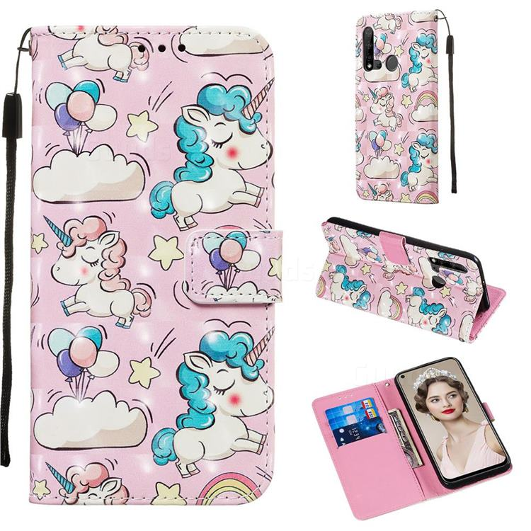 Angel Pony 3D Painted Leather Wallet Case for Huawei P20 Lite(2019)