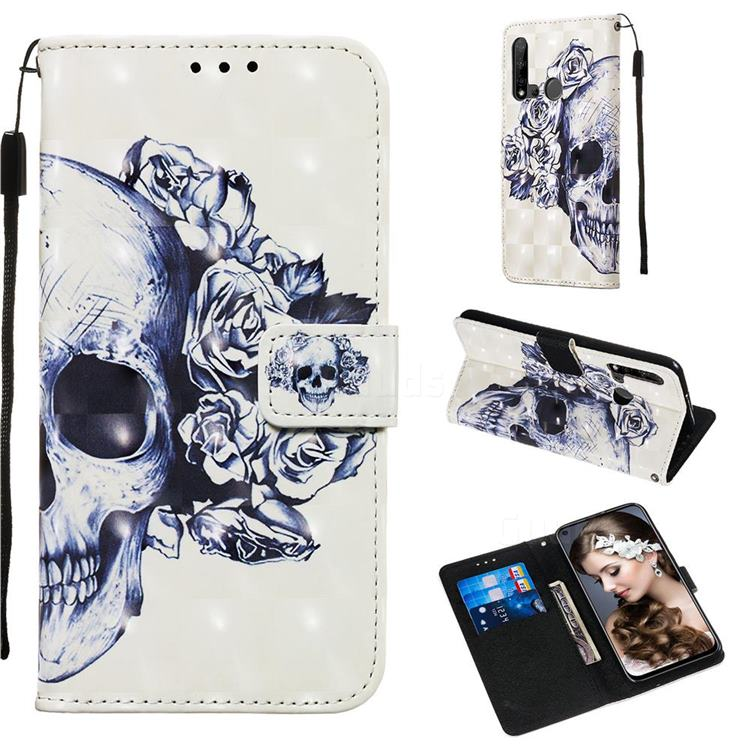 Skull Flower 3D Painted Leather Wallet Case for Huawei P20 Lite(2019)