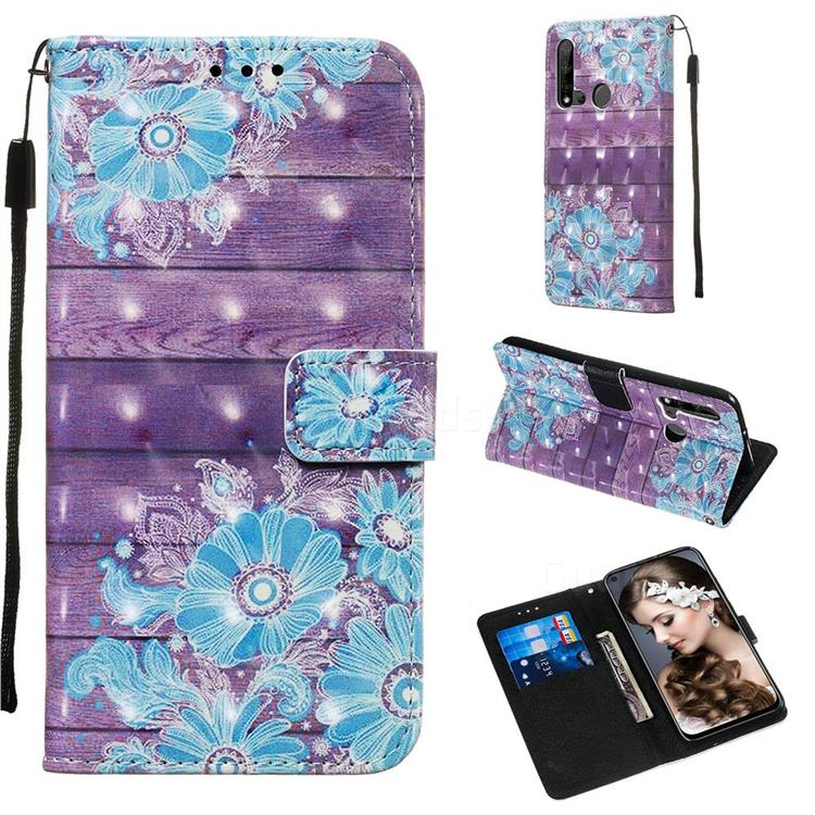 Blue Flower 3D Painted Leather Wallet Case for Huawei P20 Lite(2019)