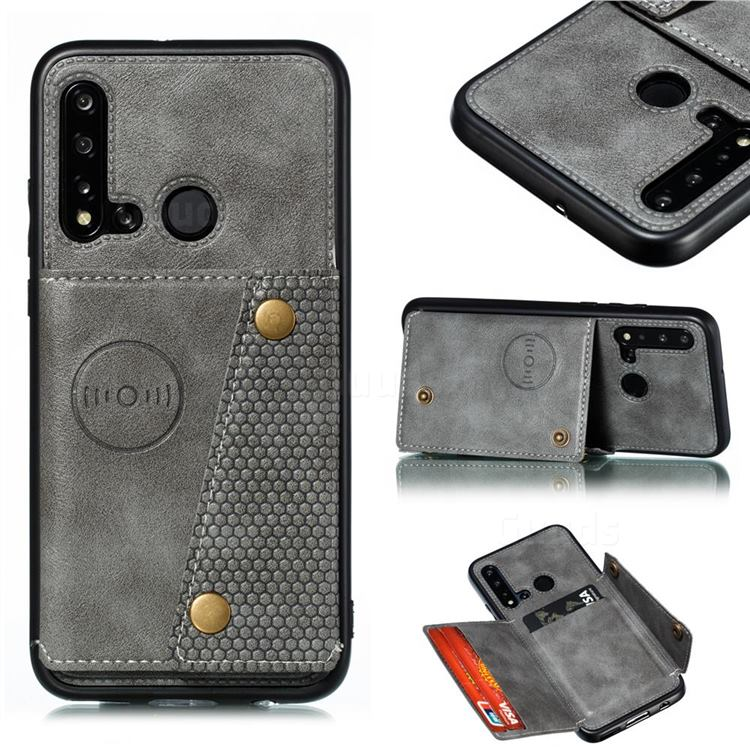 Retro Multifunction Card Slots Stand Leather Coated Phone Back Cover for Huawei P20 Lite(2019) - Gray