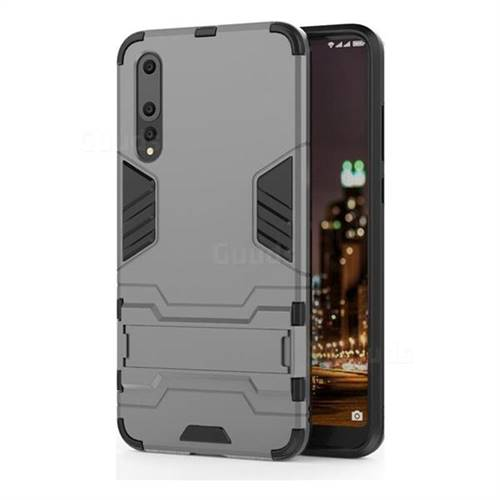 Armor Premium Tactical Grip Kickstand Shockproof Dual Layer Rugged Hard Cover for Huawei P20 Pro - Gray