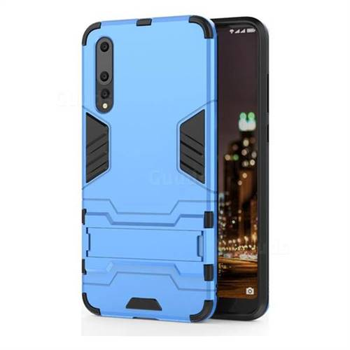 Armor Premium Tactical Grip Kickstand Shockproof Dual Layer Rugged Hard Cover for Huawei P20 Pro - Light Blue