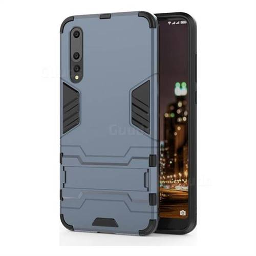 Armor Premium Tactical Grip Kickstand Shockproof Dual Layer Rugged Hard Cover for Huawei P20 Pro - Navy