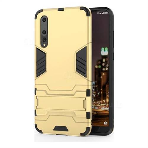 Armor Premium Tactical Grip Kickstand Shockproof Dual Layer Rugged Hard Cover for Huawei P20 Pro - Golden