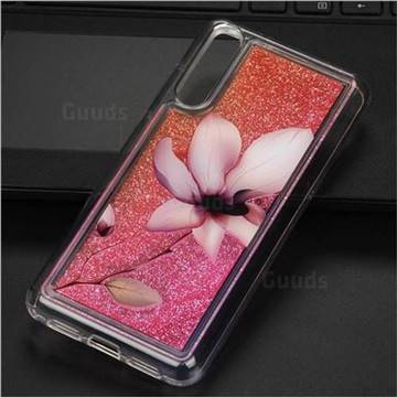 Lotus Glassy Glitter Quicksand Dynamic Liquid Soft Phone Case for Huawei P20 Pro