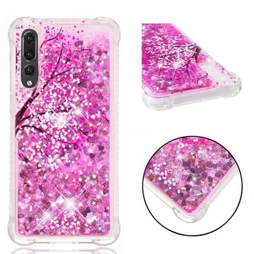 Pink Cherry Blossom Dynamic Liquid Glitter Sand Quicksand Star TPU Case for Huawei P20 Pro