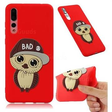 Bad Boy Owl Soft 3D Silicone Case for Huawei P20 Pro - Red