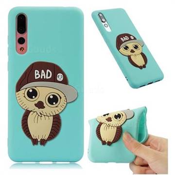 Bad Boy Owl Soft 3D Silicone Case for Huawei P20 Pro - Sky Blue