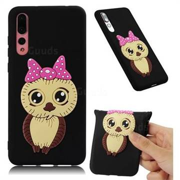 Bowknot Girl Owl Soft 3D Silicone Case for Huawei P20 Pro - Black
