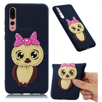 Bowknot Girl Owl Soft 3D Silicone Case for Huawei P20 Pro - Navy