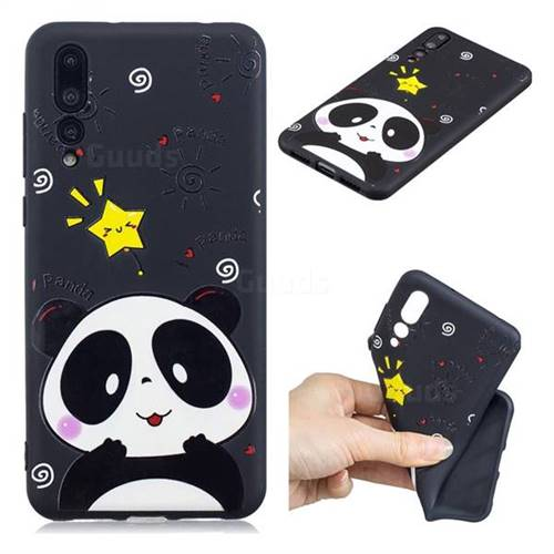 Cute Bear 3D Embossed Relief Black TPU Cell Phone Back Cover for Huawei P20 Pro