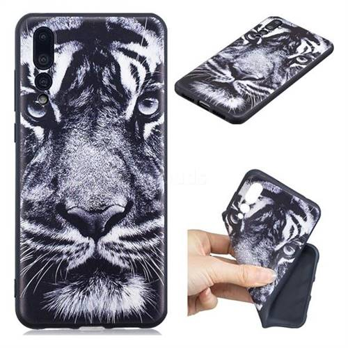 White Tiger 3D Embossed Relief Black TPU Cell Phone Back Cover for Huawei P20 Pro