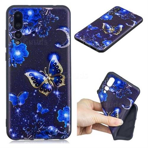 Phnom Penh Butterfly 3D Embossed Relief Black TPU Cell Phone Back Cover for Huawei P20 Pro