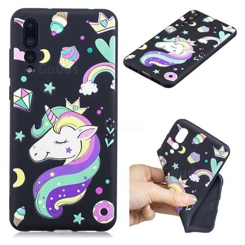 Candy Unicorn 3D Embossed Relief Black TPU Cell Phone Back Cover for Huawei P20 Pro