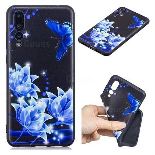Blue Butterfly 3D Embossed Relief Black TPU Cell Phone Back Cover for Huawei P20 Pro