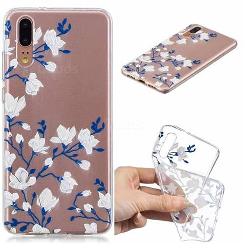 Magnolia Flower Clear Varnish Soft Phone Back Cover for Huawei P20 Pro