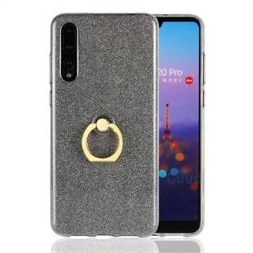 Luxury Soft TPU Glitter Back Ring Cover with 360 Rotate Finger Holder Buckle for Huawei P20 Pro - Black