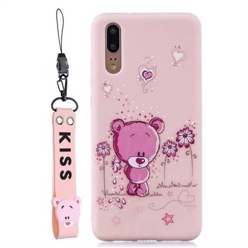 Pink Flower Bear Soft Kiss Candy Hand Strap Silicone Case for Huawei P20 Pro