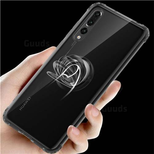 Anti-fall Invisible Press Bounce Ring Holder Phone Cover for Huawei P20 Pro - Elegant Black