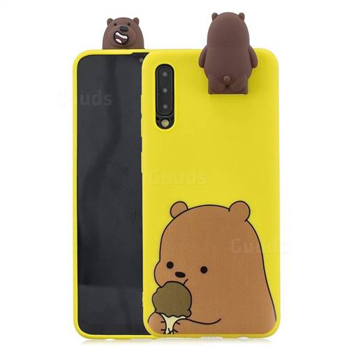 Brown Bear Soft 3D Climbing Doll Stand Soft Case for Huawei P20 Pro