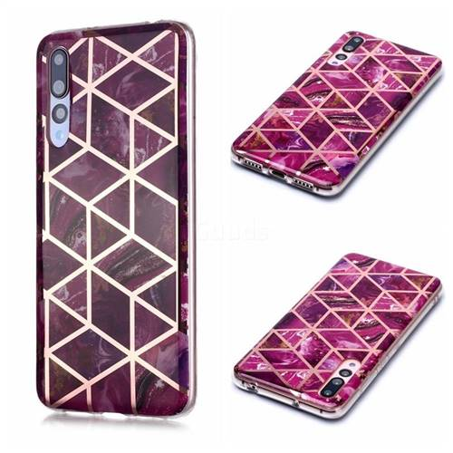 Purple Rhombus Galvanized Rose Gold Marble Phone Back Cover for Huawei P20 Pro