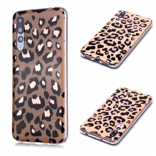 Leopard Galvanized Rose Gold Marble Phone Back Cover for Huawei P20 Pro