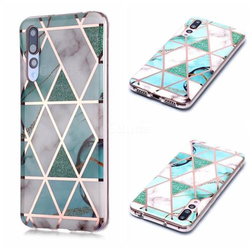 Green White Galvanized Rose Gold Marble Phone Back Cover for Huawei P20 Pro
