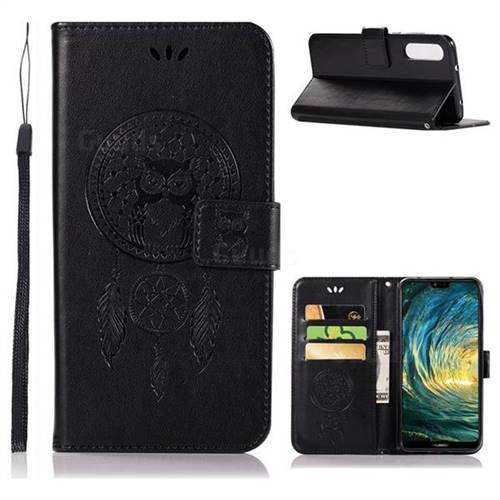Intricate Embossing Owl Campanula Leather Wallet Case for Huawei P20 Pro - Black
