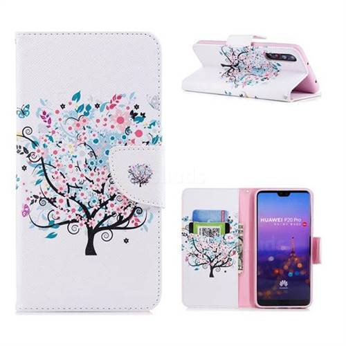 Colorful Tree Leather Wallet Case for Huawei P20 Pro