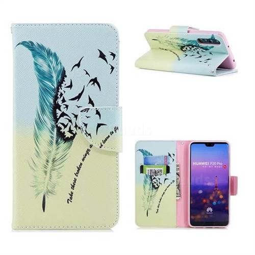 Feather Bird Leather Wallet Case for Huawei P20 Pro