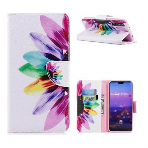 Seven-color Flowers Leather Wallet Case for Huawei P20 Pro