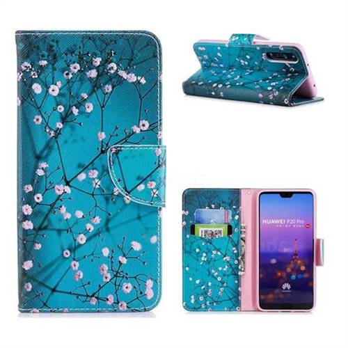 Blue Plum Leather Wallet Case for Huawei P20 Pro