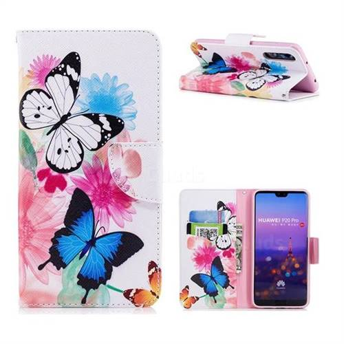 Vivid Flying Butterflies Leather Wallet Case for Huawei P20 Pro