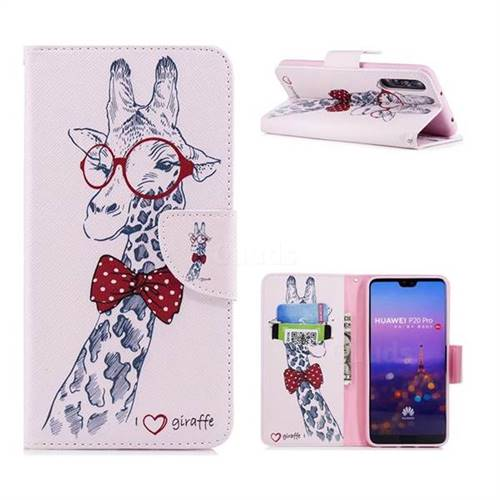 Glasses Giraffe Leather Wallet Case for Huawei P20 Pro