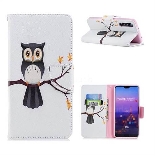 Owl on Tree Leather Wallet Case for Huawei P20 Pro