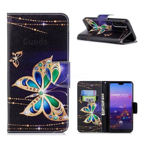 Golden Shining Butterfly Leather Wallet Case for Huawei P20 Pro