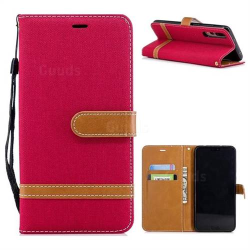 Jeans Cowboy Denim Leather Wallet Case for Huawei P20 Pro - Red