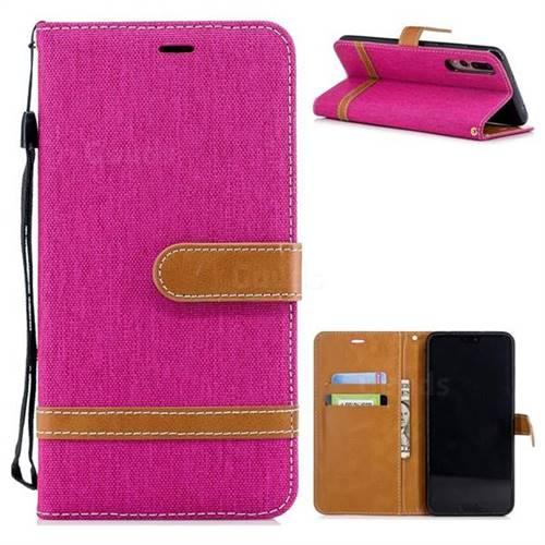 Jeans Cowboy Denim Leather Wallet Case for Huawei P20 Pro - Rose