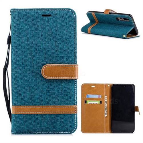 Jeans Cowboy Denim Leather Wallet Case for Huawei P20 Pro - Green
