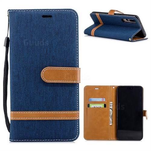 Jeans Cowboy Denim Leather Wallet Case for Huawei P20 Pro - Dark Blue