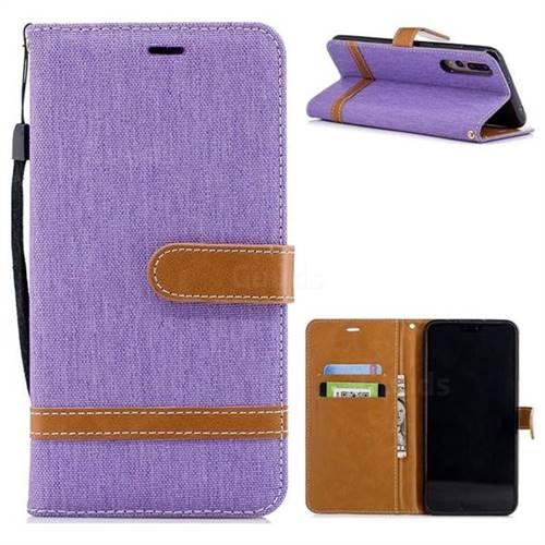 Jeans Cowboy Denim Leather Wallet Case for Huawei P20 Pro - Purple
