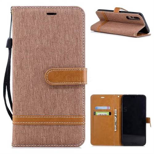 Jeans Cowboy Denim Leather Wallet Case for Huawei P20 Pro - Brown