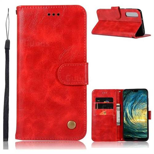 Luxury Retro Leather Wallet Case for Huawei P20 Pro - Red