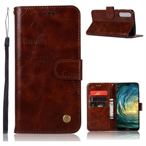 Luxury Retro Leather Wallet Case for Huawei P20 Pro - Brown