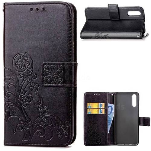 Embossing Imprint Four-Leaf Clover Leather Wallet Case for Huawei P20 Pro - Black