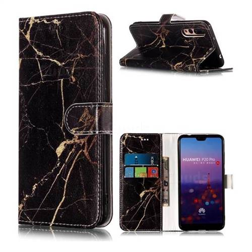 Black Gold Marble PU Leather Wallet Case for Huawei P20 Pro
